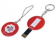 Runder USB-Stick. Optional mit Schlüsselanhänger (rechts) oder Handyband (links).