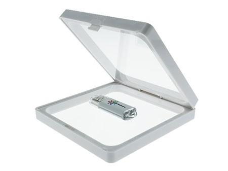 Weiße Framebox (Klappbox) mit transparenter Sichtfolie