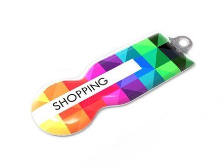 Einkaufswagen-Chip mit farbigen Logodruck auf der Oberseite