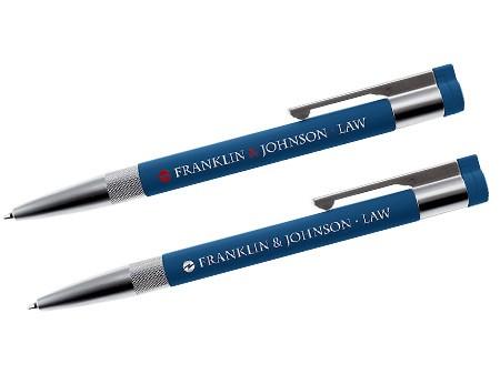 Beispiel: Blauer USB-Kugelschreiber mit hochwertiger Lasergravur.