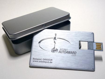 Beispiel: Gravur auf einer USB-Aluvisitenkarte