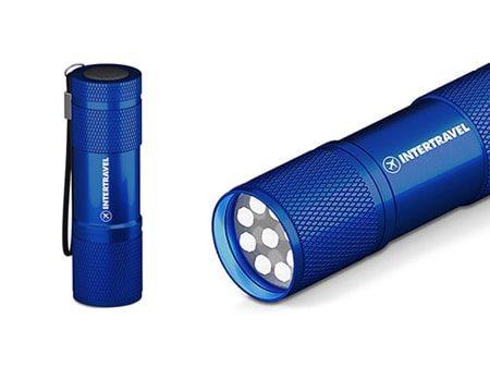 Blaue Mini LED Stabtaschenlampe mit 6 leuchtenden Gehäusefarben