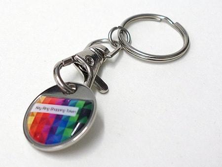 Schlüsselanhänger mit abnehmbaren Einkaufswagen-Chip (Ø 23 mm)