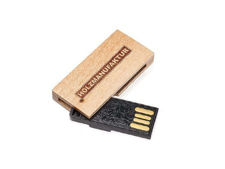 Mini-USB-Holz-Stick mit ausklappbarem USB-Anschluss