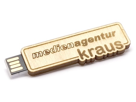 Flacher Holz-USB-Stick im Eigendesign