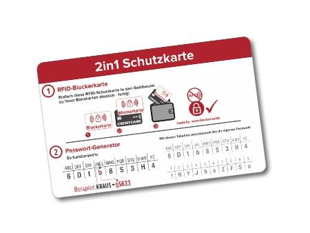 """2in1 Schutzkarte """"Safety to go"""" visitenkarten"""