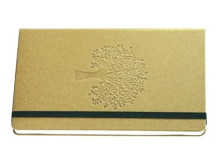 Notizbuch Eco-Paper mit naturbelassener Oberfläche und Logoprägung