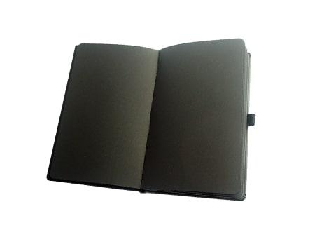 """Notizbuch """"Black-Book"""" mit schwarzen Seiten und Stiftschlaufe"""